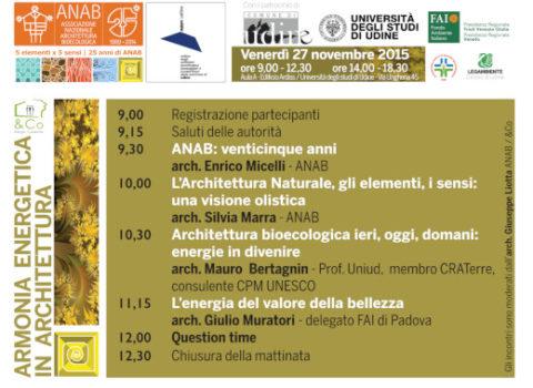 ARMONIA ENERGETICA IN ARCHITETTURA – Convegno 25° ANAB – Udine – 2015
