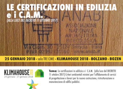 Klimahouse – LE CERTIFICAZIONI IN EDILIZIA e i C.A.M. (ALLA LUCE DEL DECRETO 11 OTTOBRE 2017) – Convegno – 2018